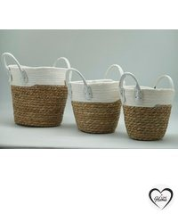 """""""Flowerful & Fruitful"""" - Straw basket with handle- white, three size, Hand Woven Belly Basket, Large Storage Laundry, Picnic, Plant Pot Cover, Home Decor and Woven Straw (set of 3 pieces)"""