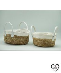"""""""Flowerful & Fruitful"""" collection - Straw bowl with handle-white-natural, two size, Hand Woven Straw Bowl, Extra Large Storage Laundry, Picnic, Plant Pot Cover, Home Decor and Woven Straw (set of 2 pieces)"""