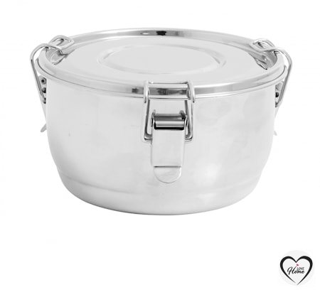 Lunch box, round, stainless steel